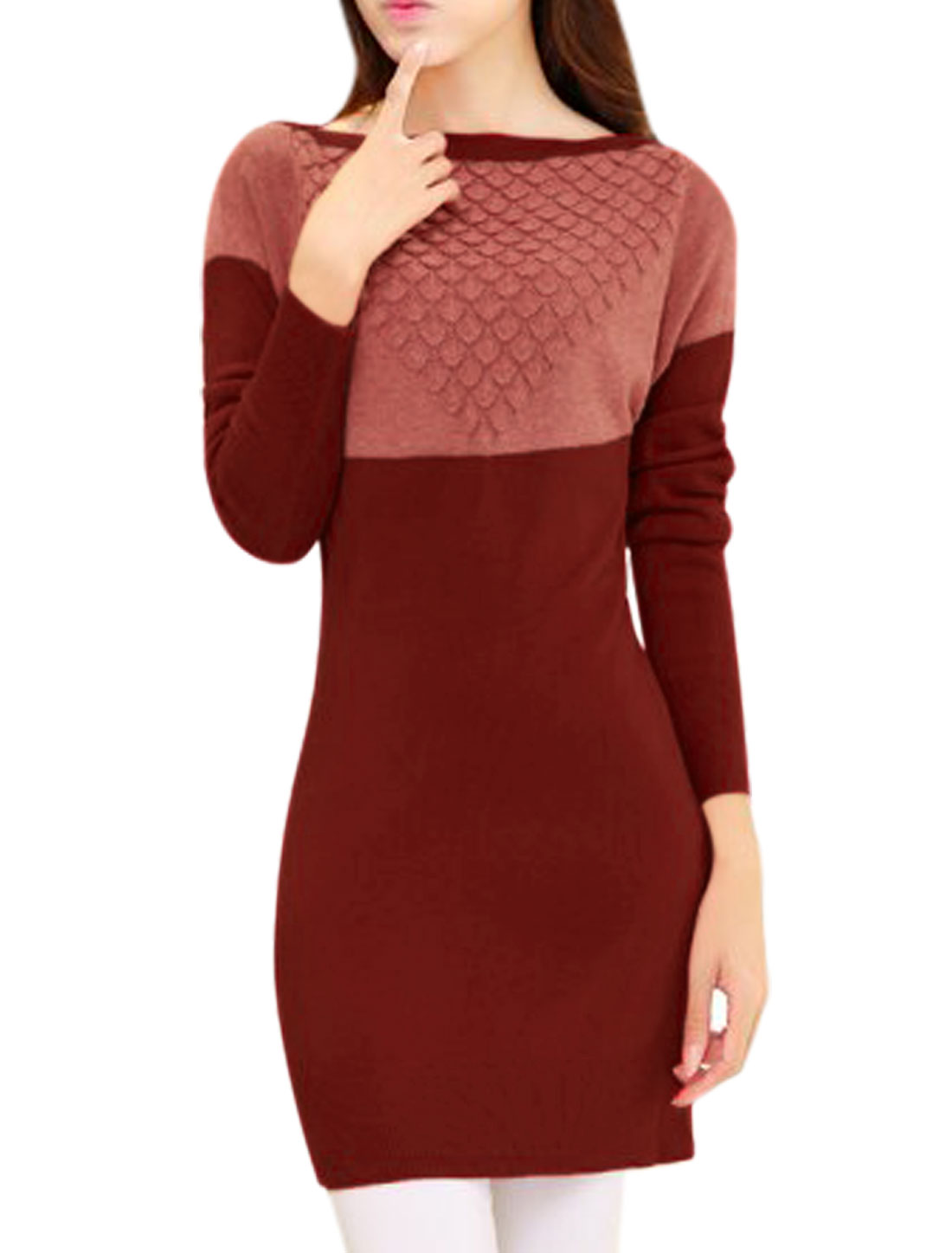 Lady Boat Neck Long Sleeve Stretchy Leisure Knitted Top Burgundy Light Red S