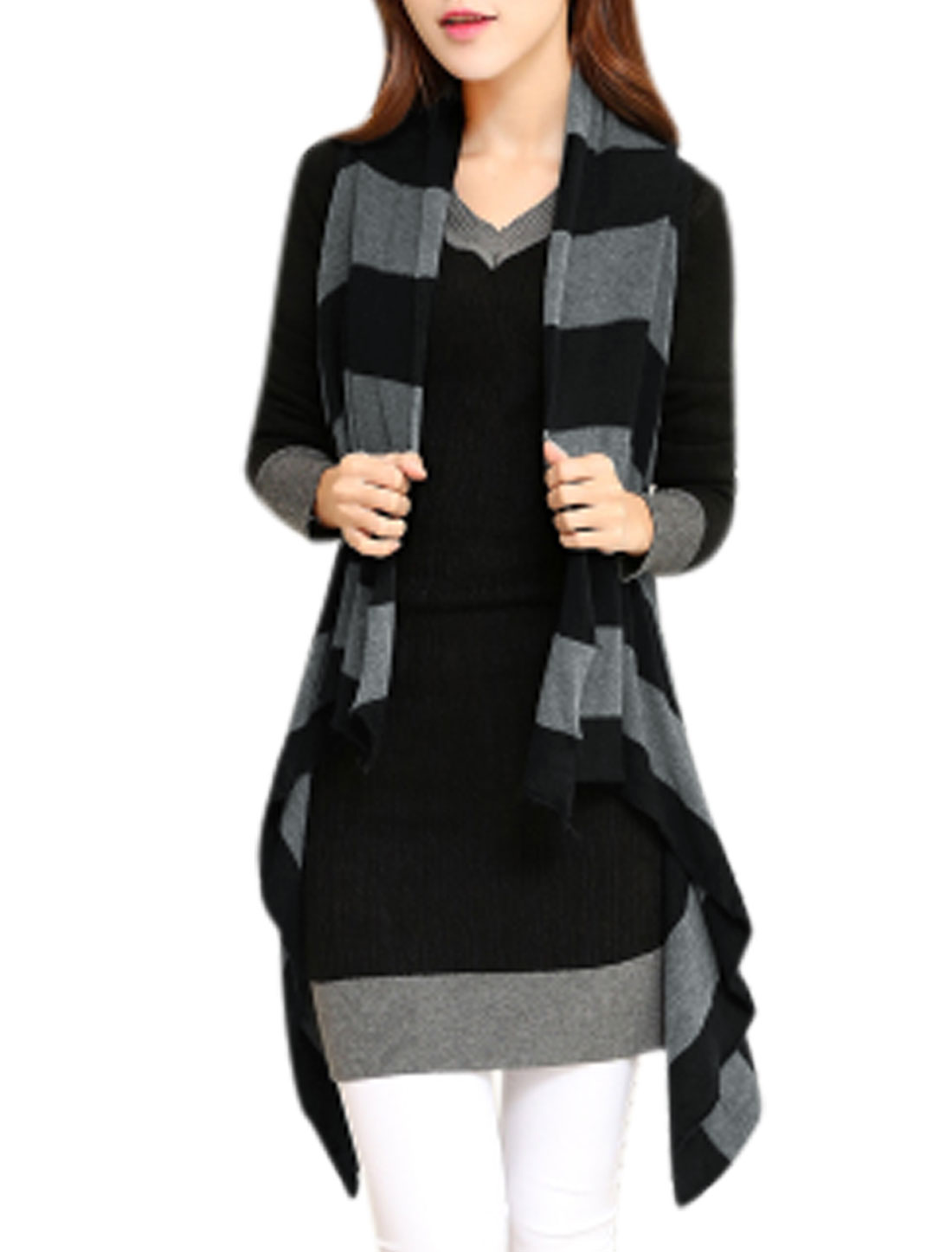 Stripes Draped Irregular Hem Knitting Vest for Lady Black XS
