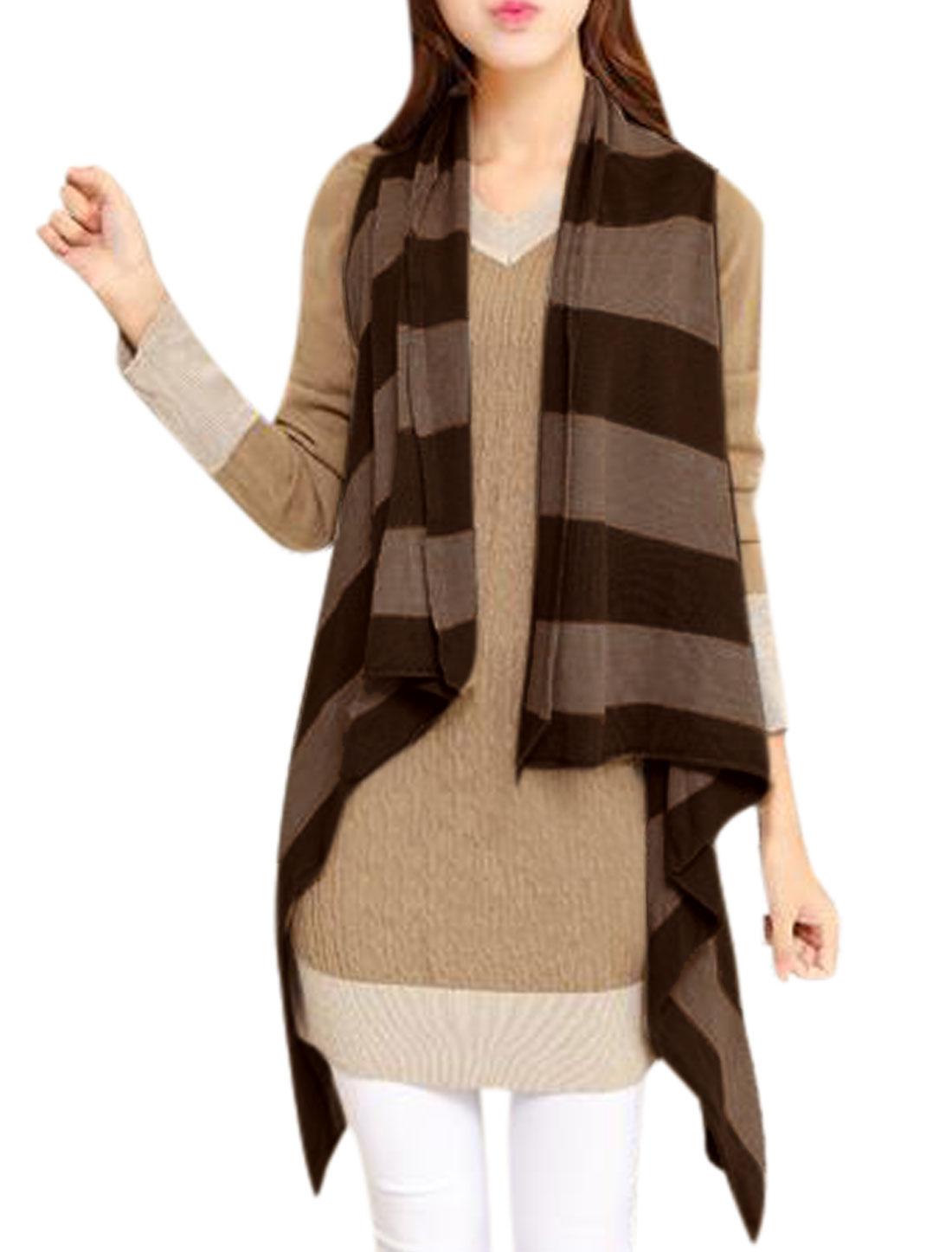 Ladies Stripes Draped Hem Cardigan Knitting Vest Brown XS