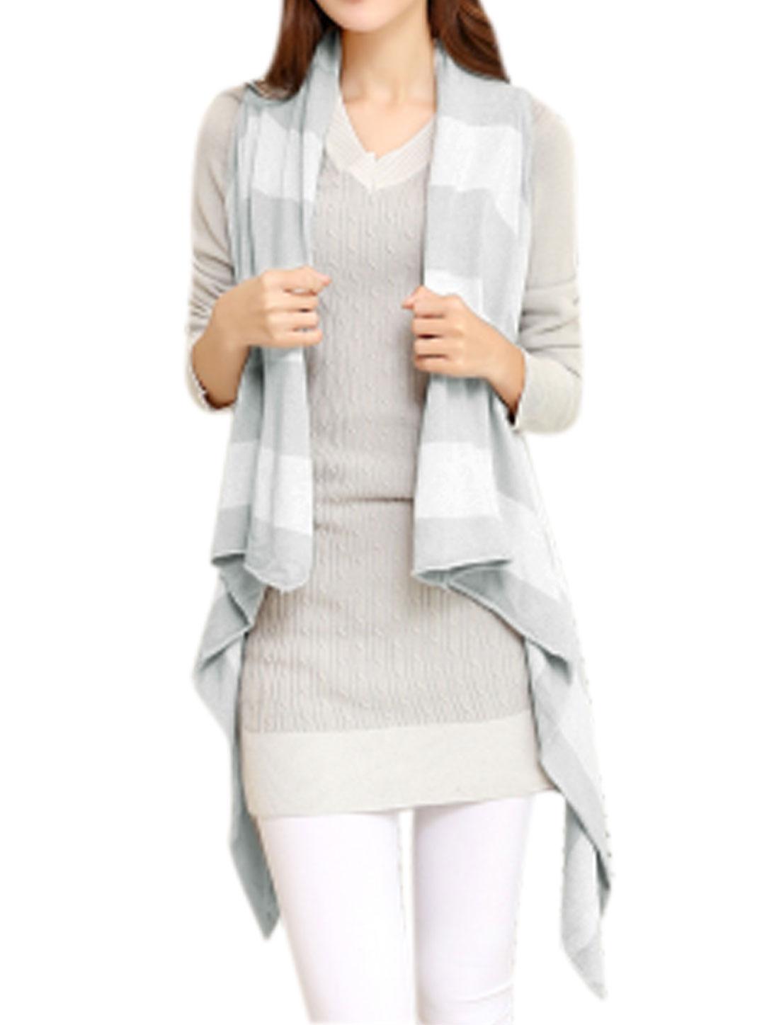 Lady Asymmetrical Hem Cardigan Knitting Vest Light Grey XS