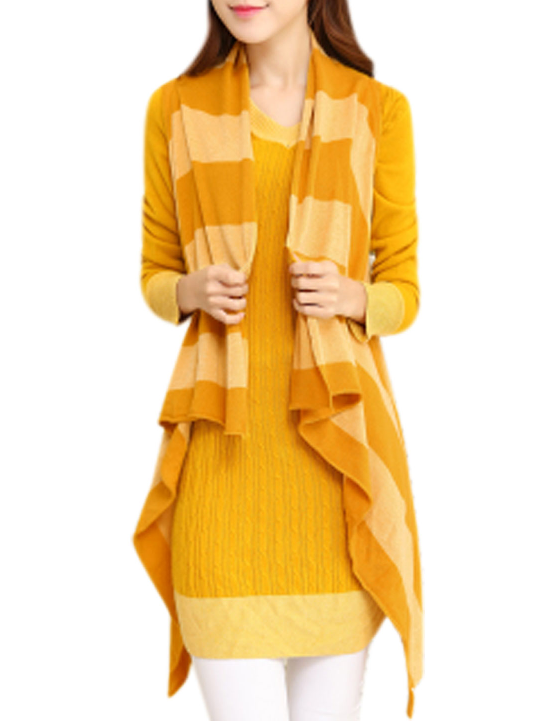 Ladies Irregular Hem Color Block Knitting Vest Light Yellow XS