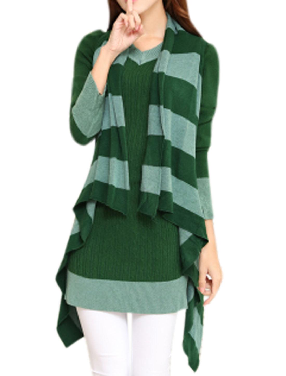 Lady Cardigan Irregular Hem Casual Knitting Vest Dusty Green XS