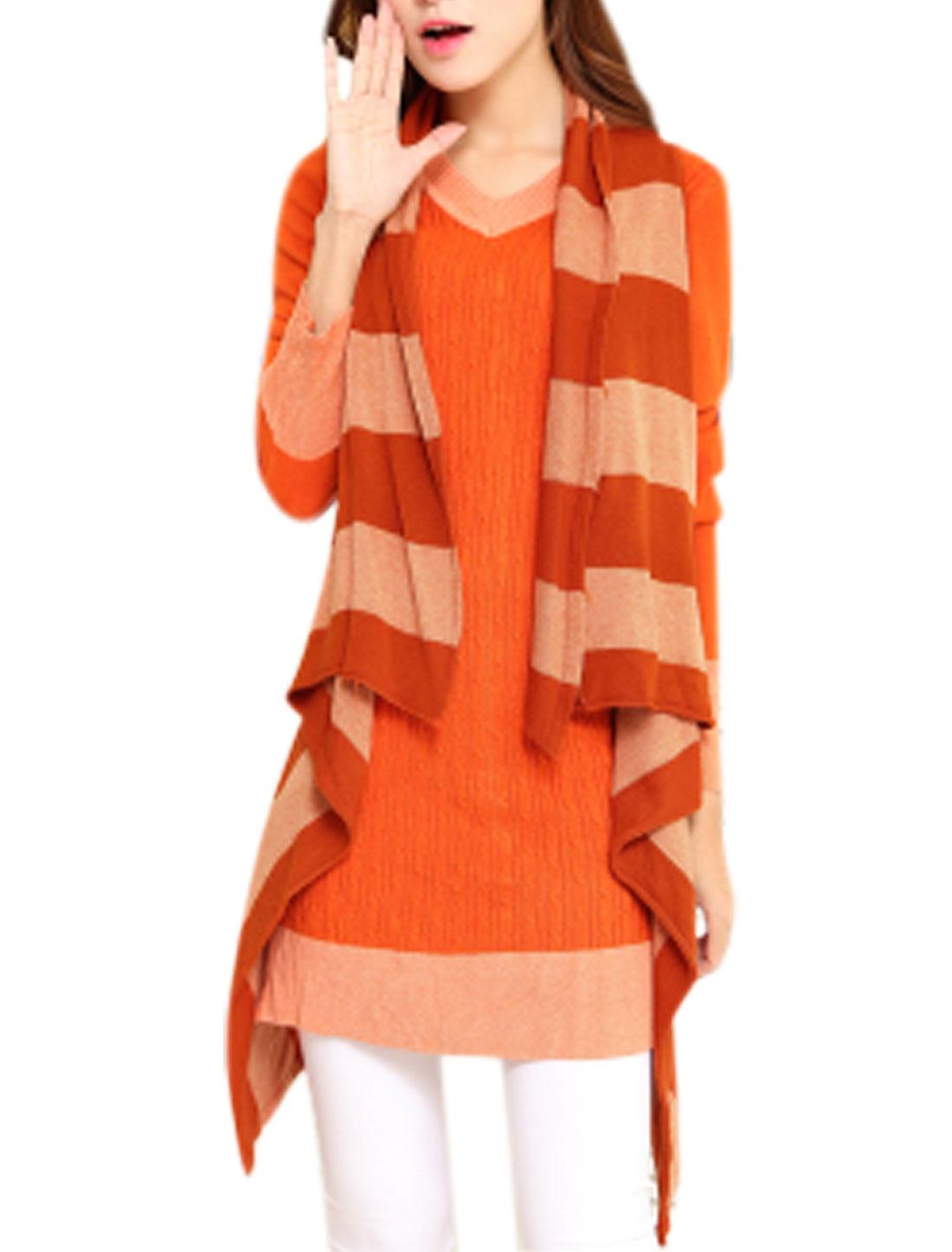 Lady Cardigan Color Block Stripes Knitting Vest Orange XS