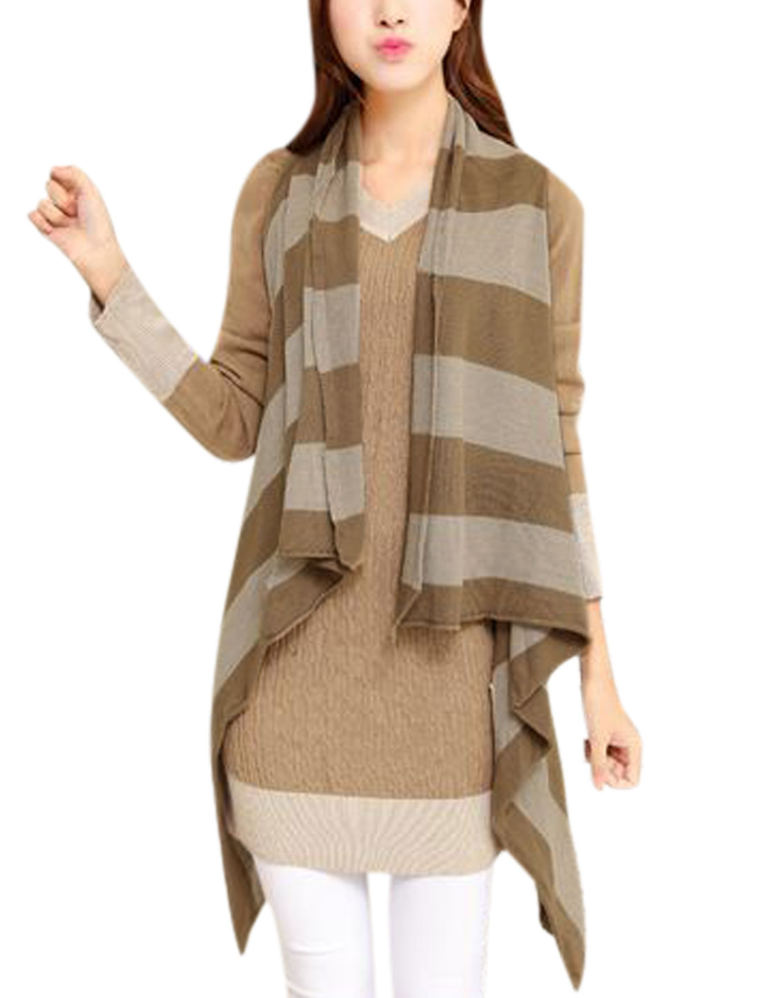 Draped Hem Color Block Sleeveless Knitting Vest for Ladies Khaki XS