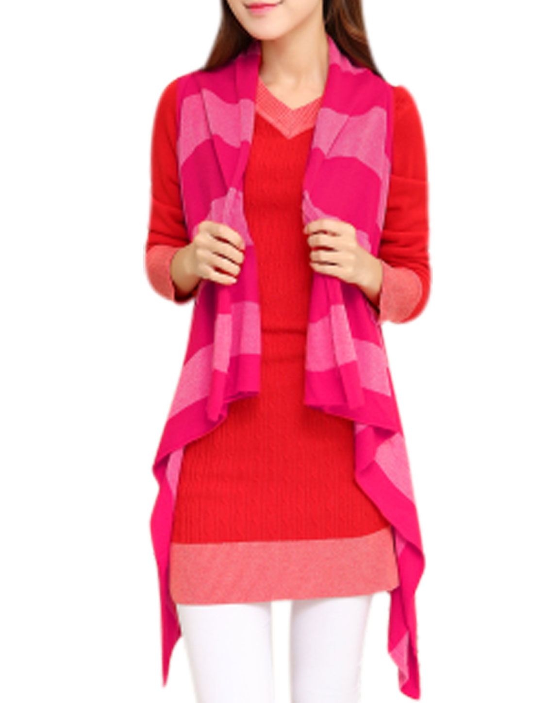 Ladies Shawl Collar Stripes Irregular Hem Fuchsia Knitting Vest XS