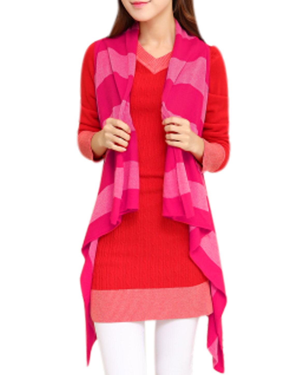 Ladies Shawl Collar Stripes Irregular Hem Fuchsia Knitting Vest XS