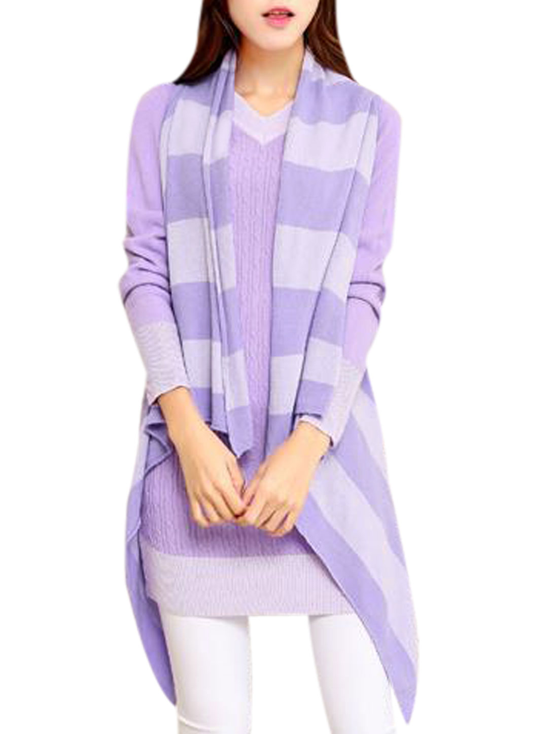 Ladies Contrast Color Stripes Draped Hem Knitting Vest Lavender XS