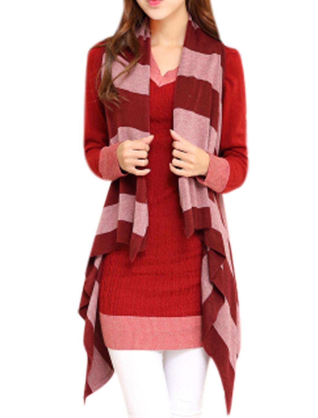 Ladies Draped Hem Contrast Color Sleeveless Knitting Vest Burgundy XS