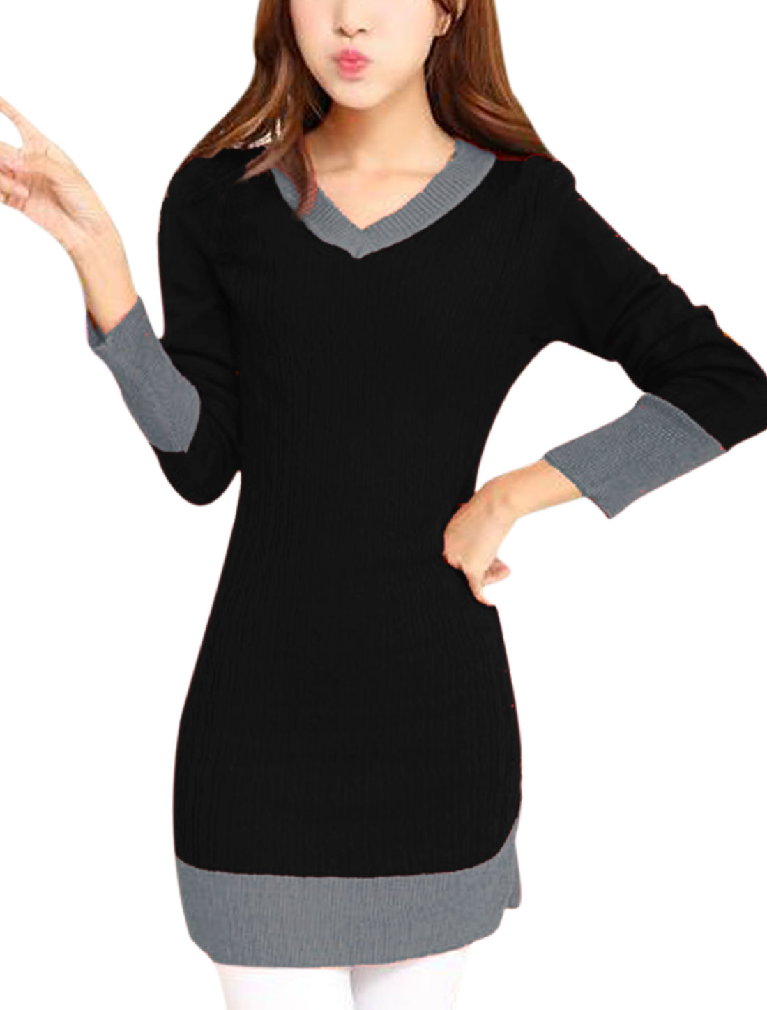 Ladies Black Long Sleeves V Neck Contrast Color Casual Knitted Dress S
