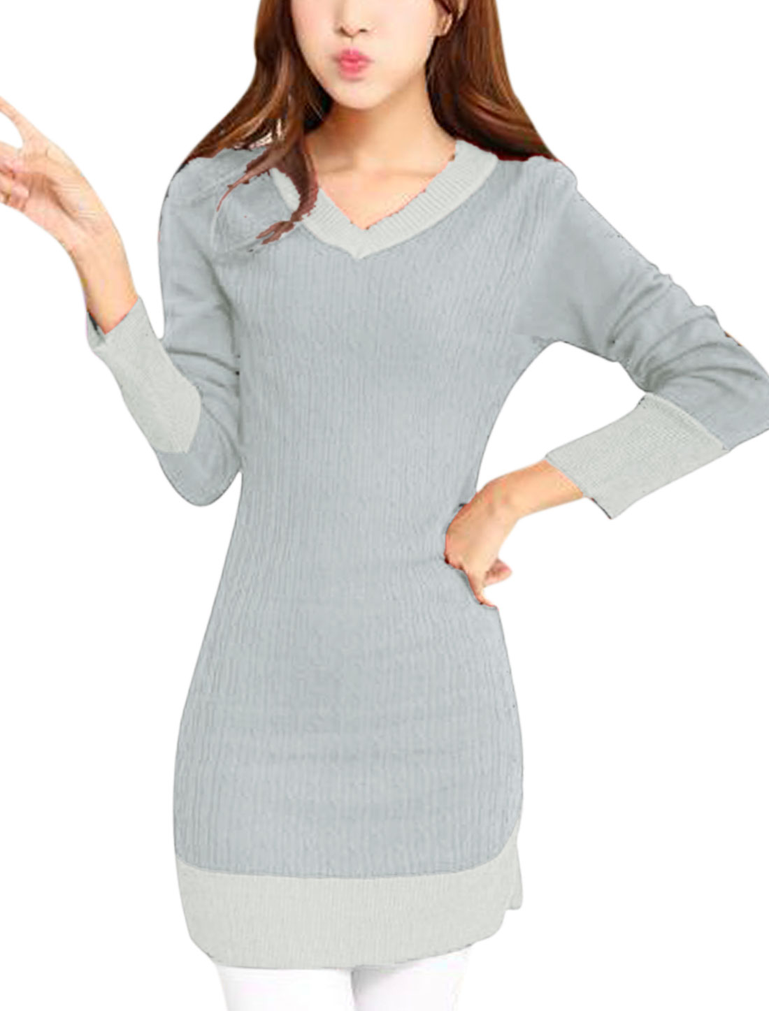 Ladies Light Gray Long Sleeves Pullover V Neck Color Block Knitted Dress S