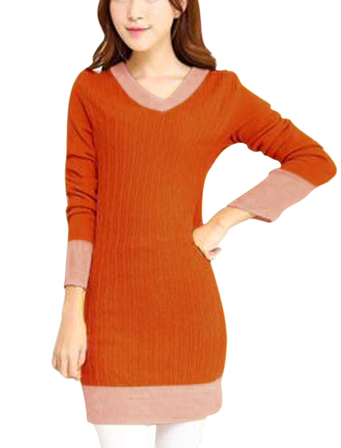 Ladies Orange Long Sleeves Pullover Contrast Color Leisure Knitted Dress S