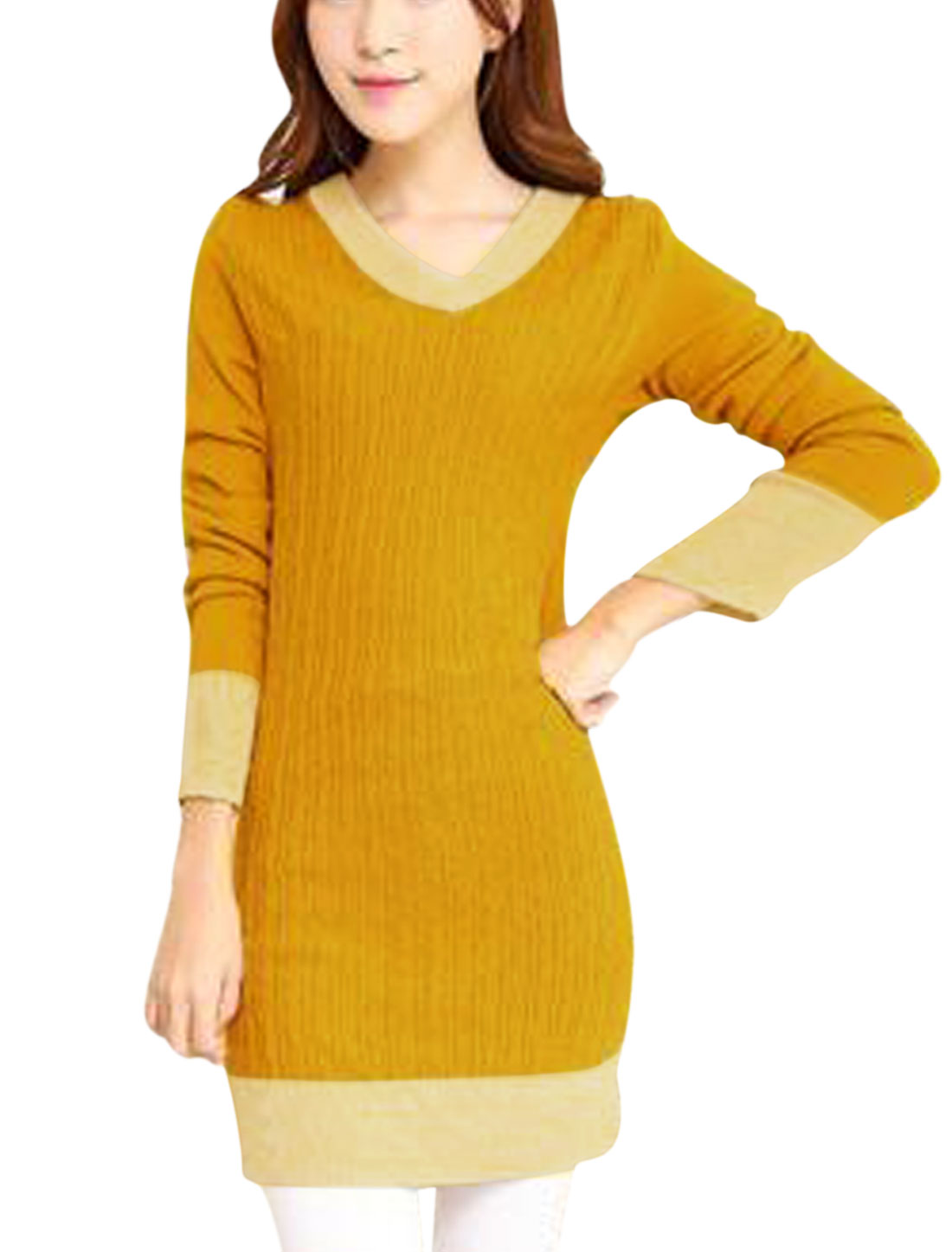 Ladies Curry V Neck Color Block Casual Knitted Dress S