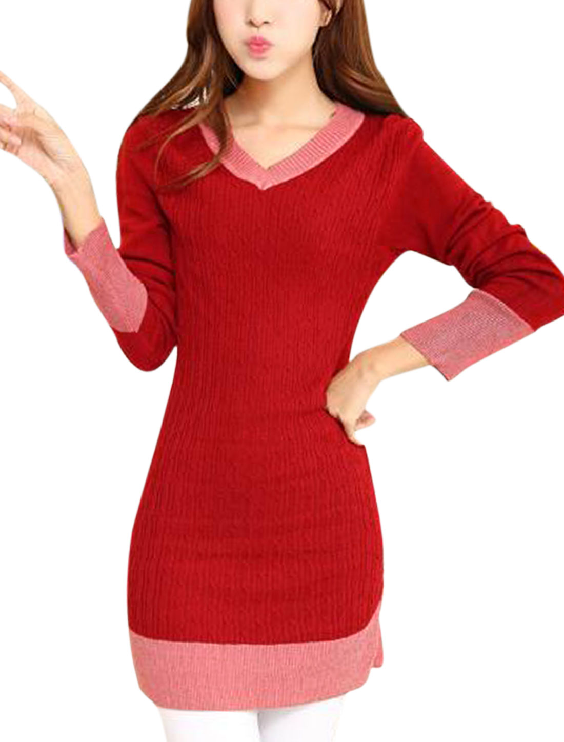 Ladies Warm Red Long Sleeves Contrast Color Slim Fit Knitted Dress S