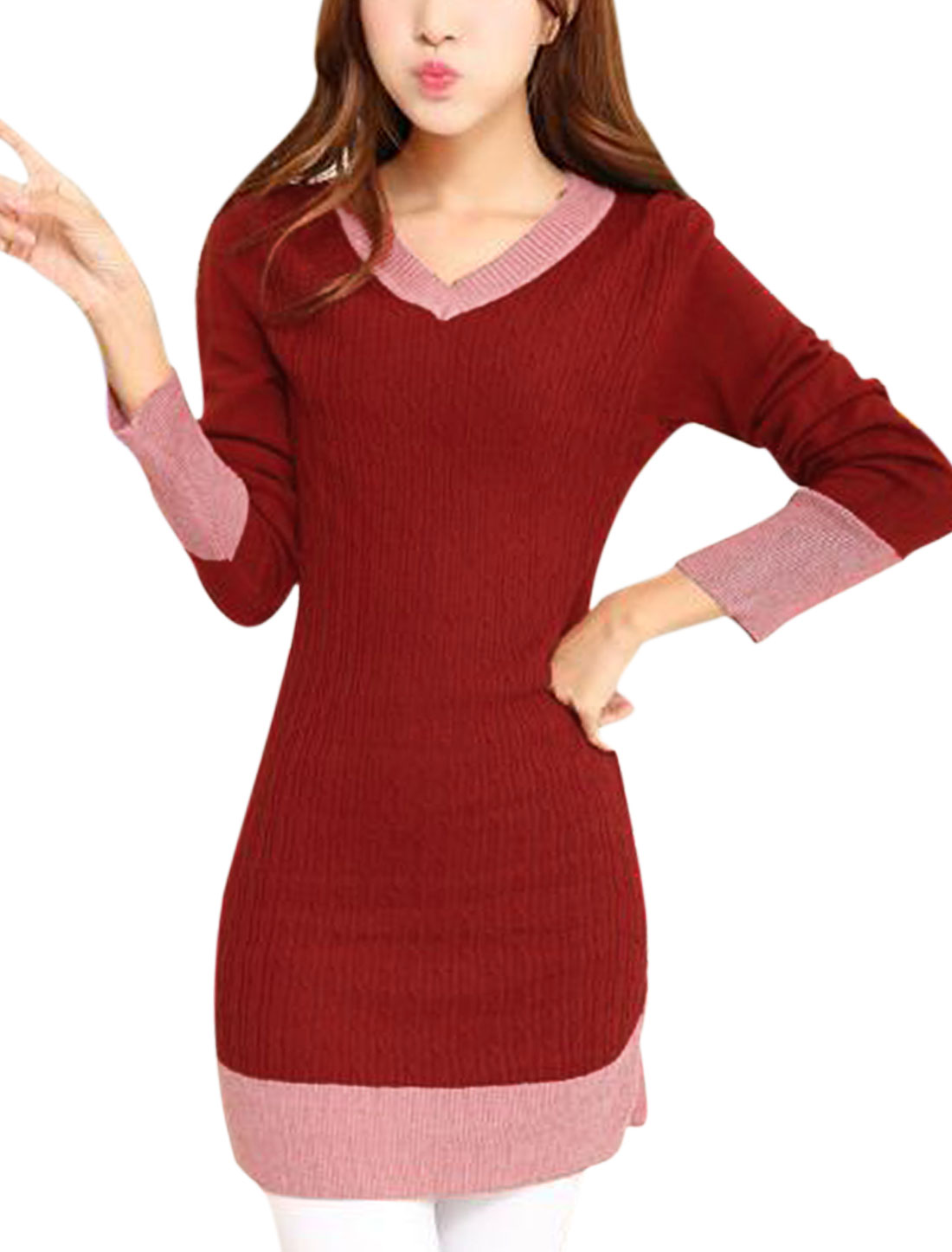 Ladies Burgundy Long Sleeves Straight Slim Fit Casual Knitted Dress S