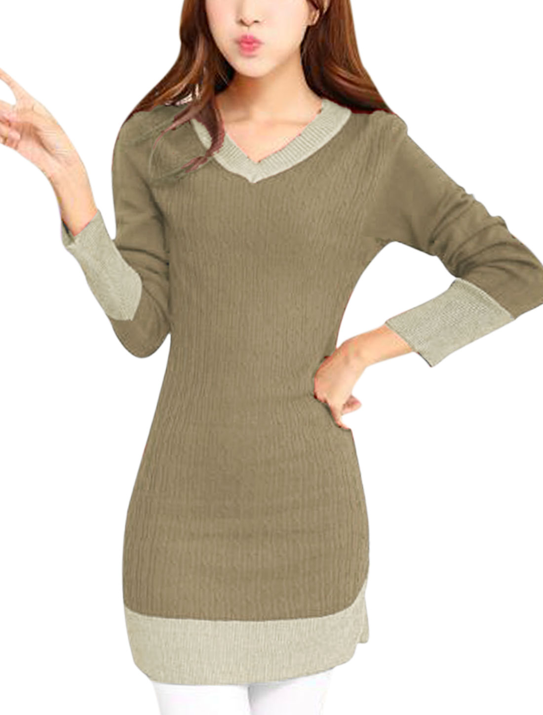 Ladies Taupe Pullover V Neck Contrast Color Straight Knitted Dress S