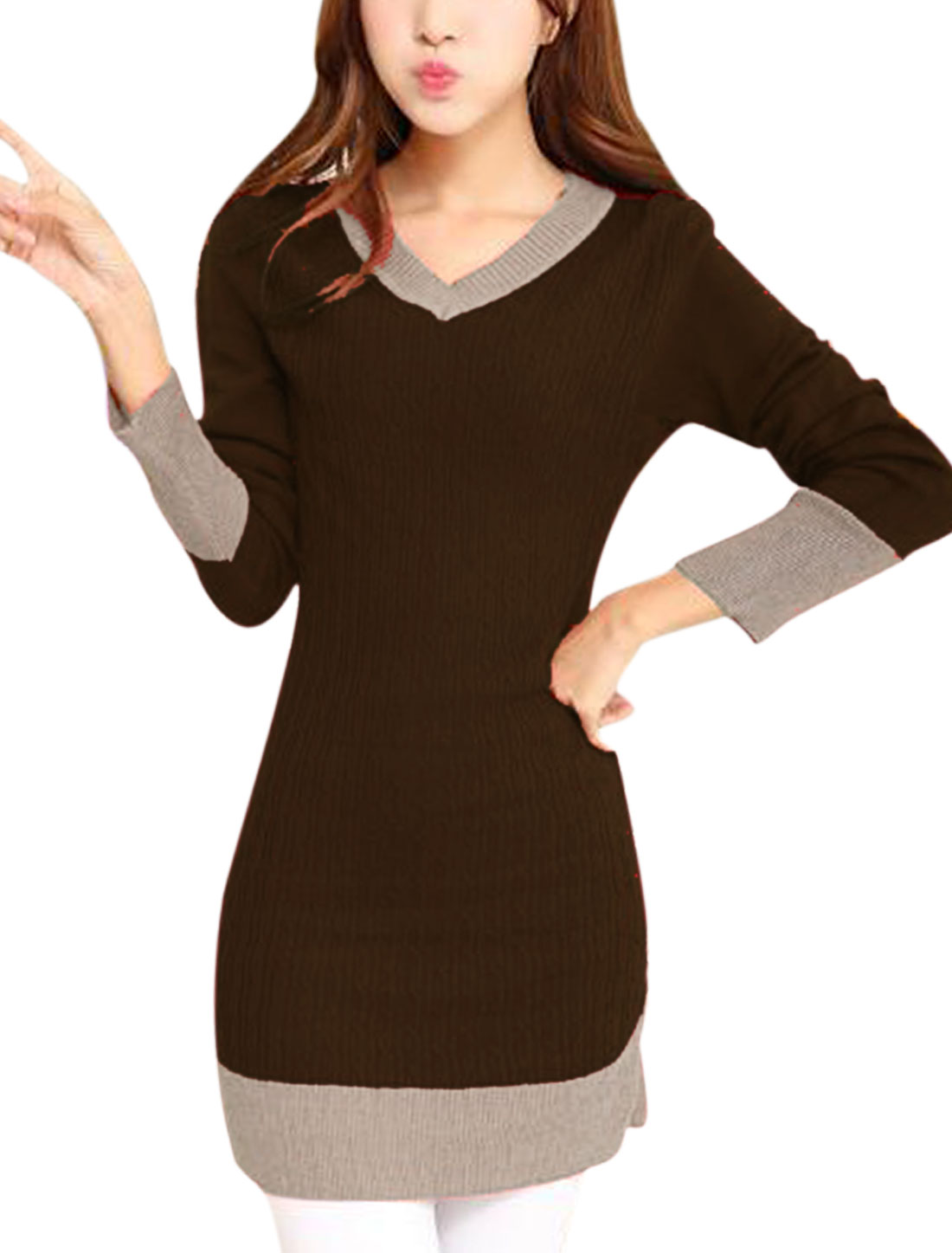 Ladies Dark Brown Full Sleeves Contrast Color Straight Knitted Dress S