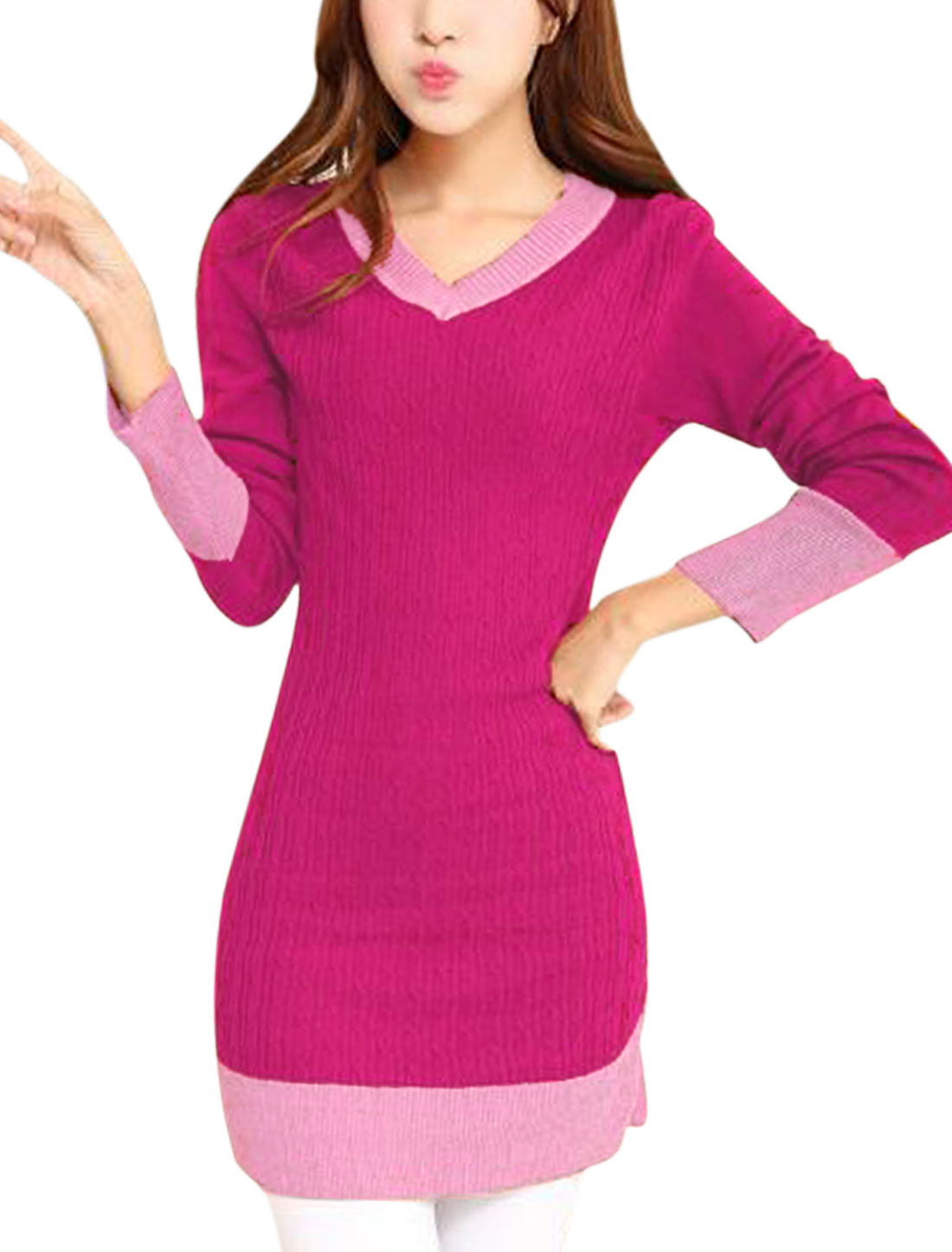 Ladies Fuchsia Pullover V Neck Color Block Straight Casual Knitted Dress S