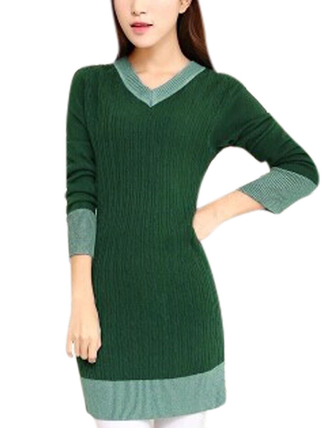 Lady Color Block Long Sleeves Slipover Dusty Green Knitted Dress S