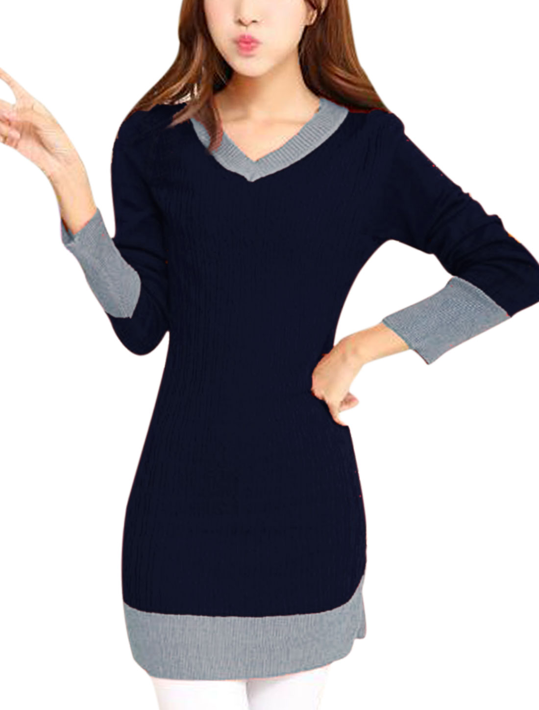 Ladies Navy Blue Pullover Contrast Color Straight Casual Knitted Dress S