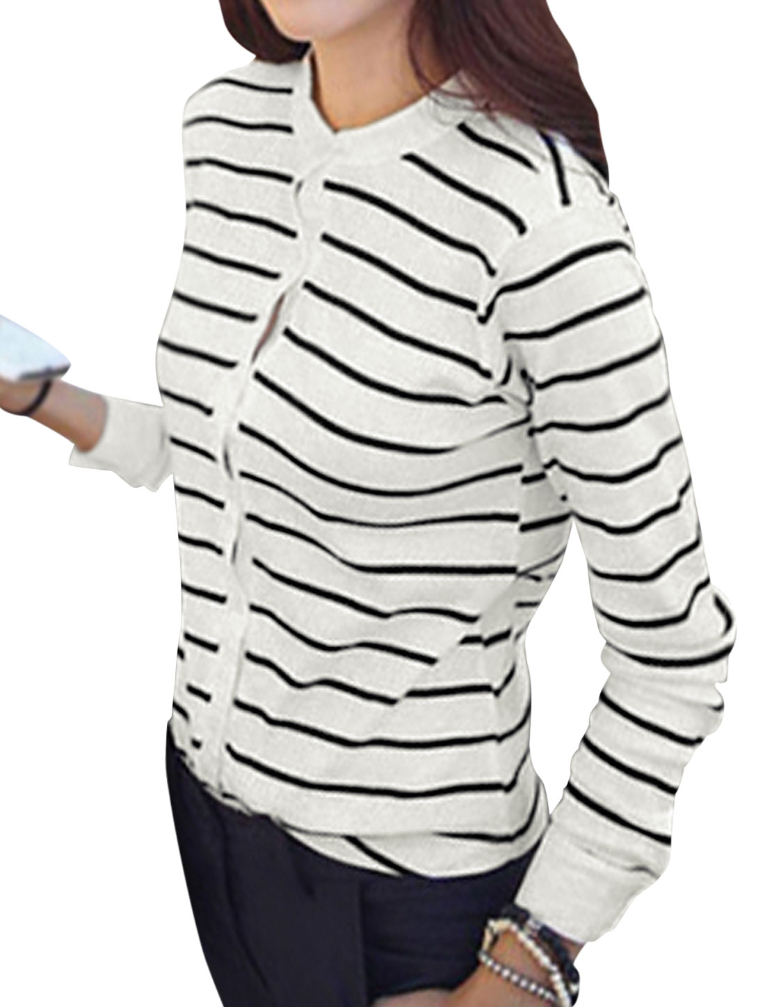 Ladies Stand Collar Long Sleeve Bar Striped Leisure Jacket White S
