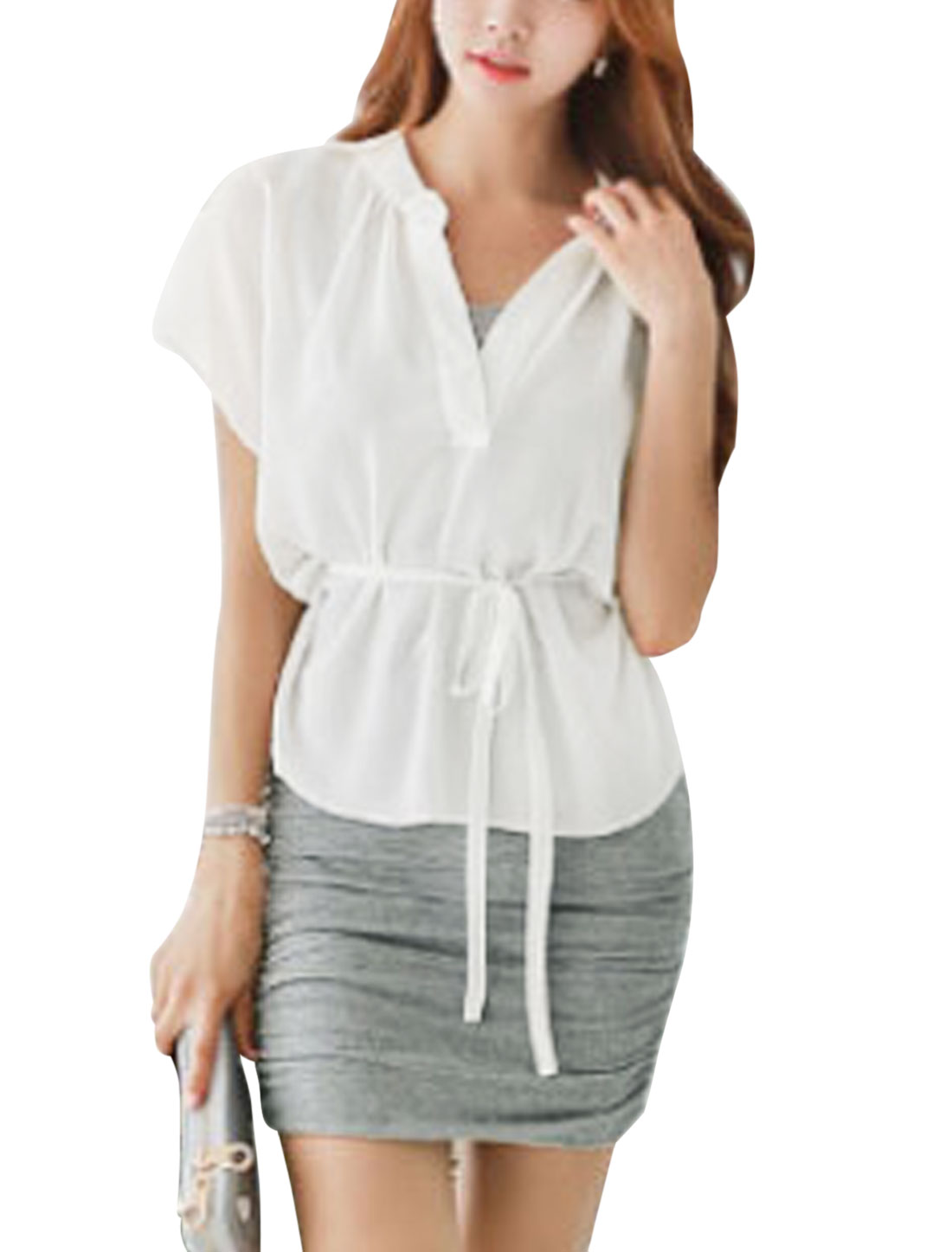 Women Split Neck White Chiffon Top w Sleeveless Sheath Dress Light Gray M