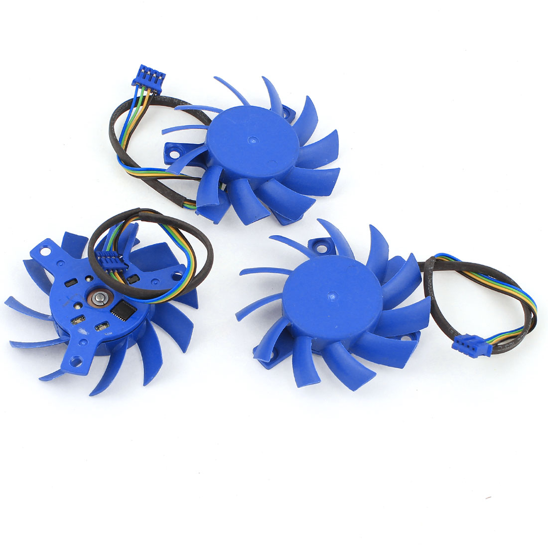3 Pieces 55mm Blue PC Computer VGA Video Card Cooling Fan Cooler DC 12V