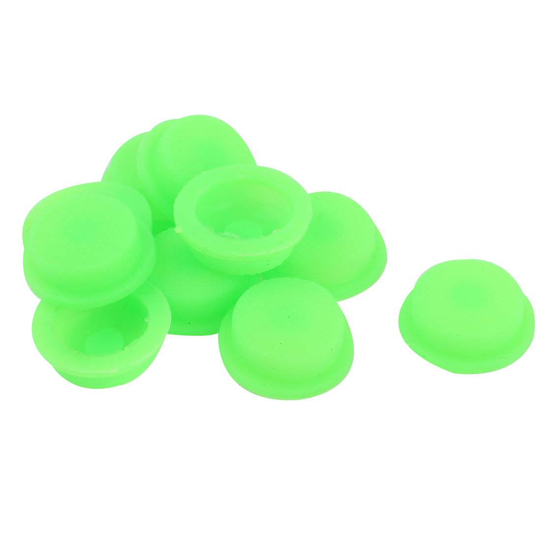 10pcs 16mm Dia Protective Waterproof Silicone Switch Cover Guard Green