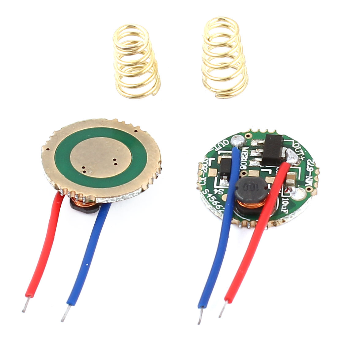 DIY Flashlight Torch 2 Wires 1-Mode Q5 LED Driver Circuit Board 15mm Dia 2pcs