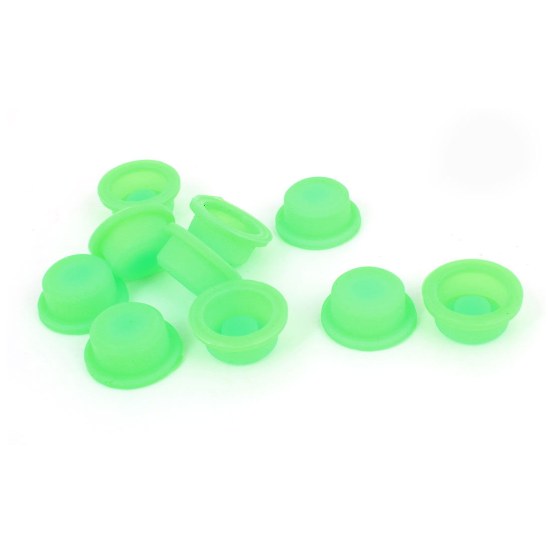 10pcs 13mm Inner Dia Protective Waterproof Silicone Switch Cover Guard Green