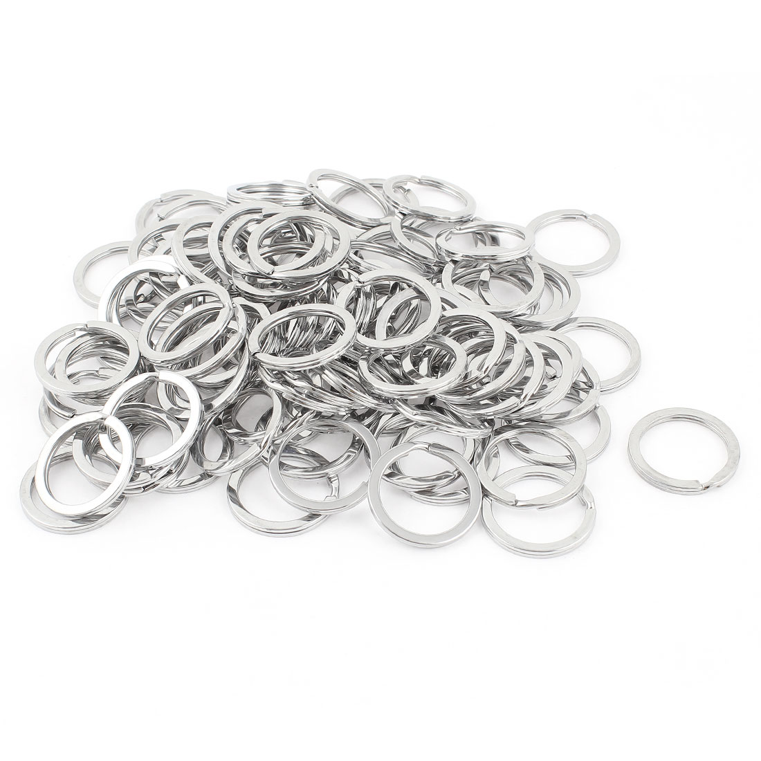 "100 Pcs Silver Tone 1"" Diameter Stainlelss Steel Split Key Rings Keychains"