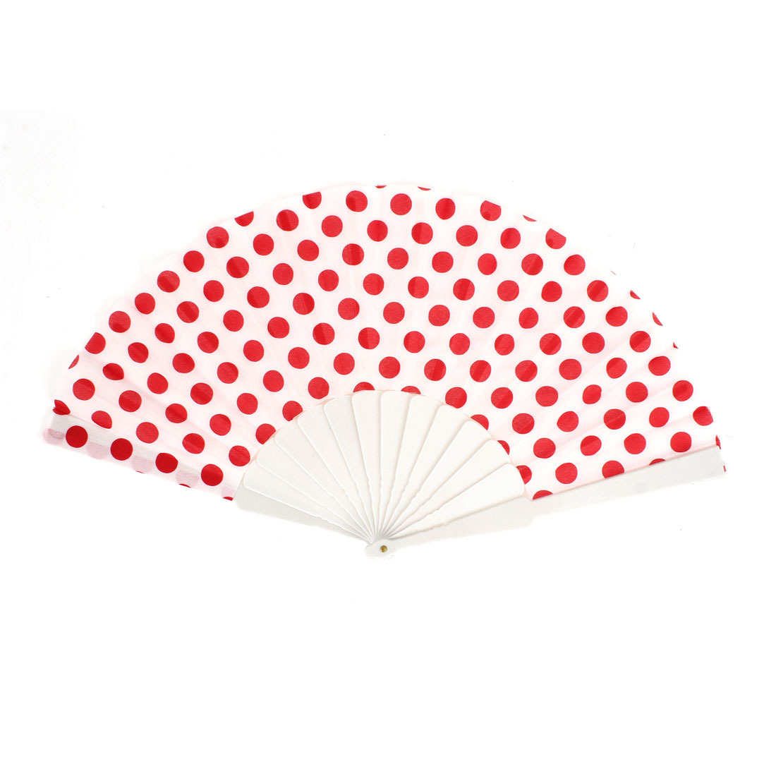Unisex Summer Handy Plastic Frame Red Dots Pattern Fabric Folding Fanning Hand Fan White