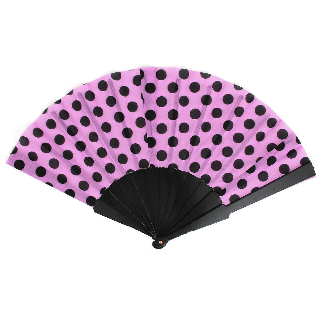 Unisex Summer Handy Plastic Frame Black Dots Pattern Folding Fanning Hand Fan Pink