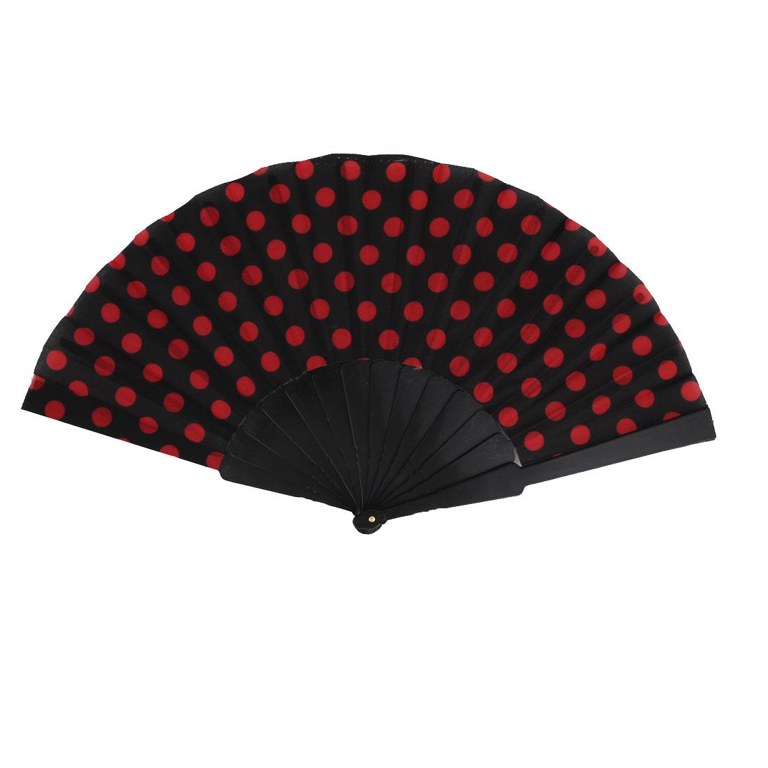 Unisex Summer Handy Plastic Frame Red Dots Pattern Folding Fanning Hand Fan Black