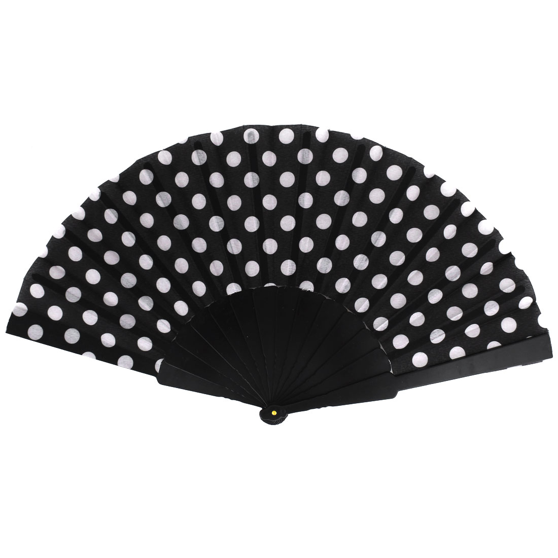Unisex Summer Handy Plastic Frame White Dots Pattern Fabric Folding Fanning Hand Fan Black