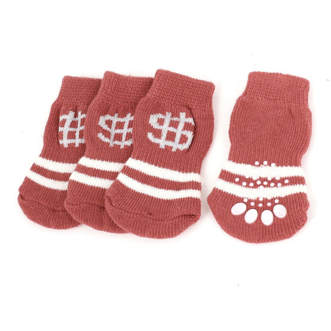 2 Pairs Winter Warm Nonslip Acrylic Pet Dog Puppy Socks Beige Red