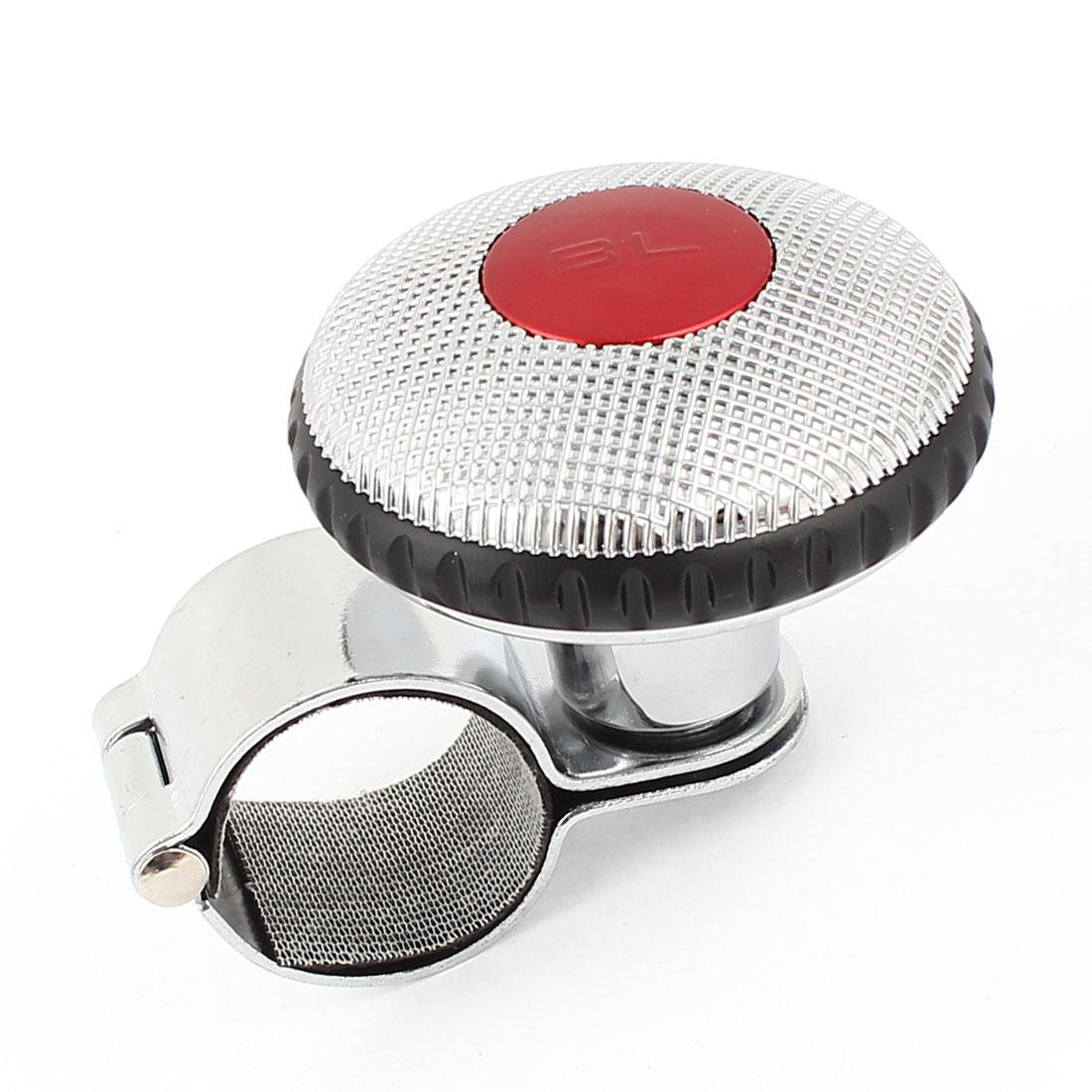 Grid Pattern Decor Silver Tone Metal Steering Wheel Spinner Knob Power Handle