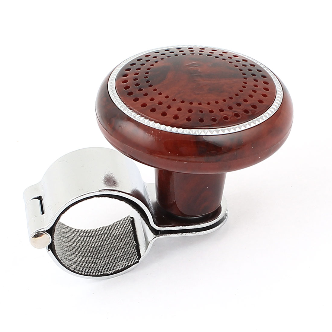 Hole Gridding Pattern Decor Red Metal Steering Wheel Spinner Knob Power Handle