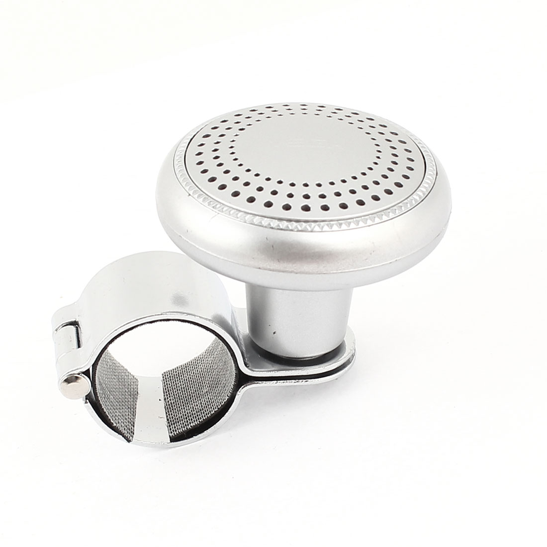 Hole Gridding Pattern Decor Silver Tone Metal Steering Wheel Spinner Knob Power Handle