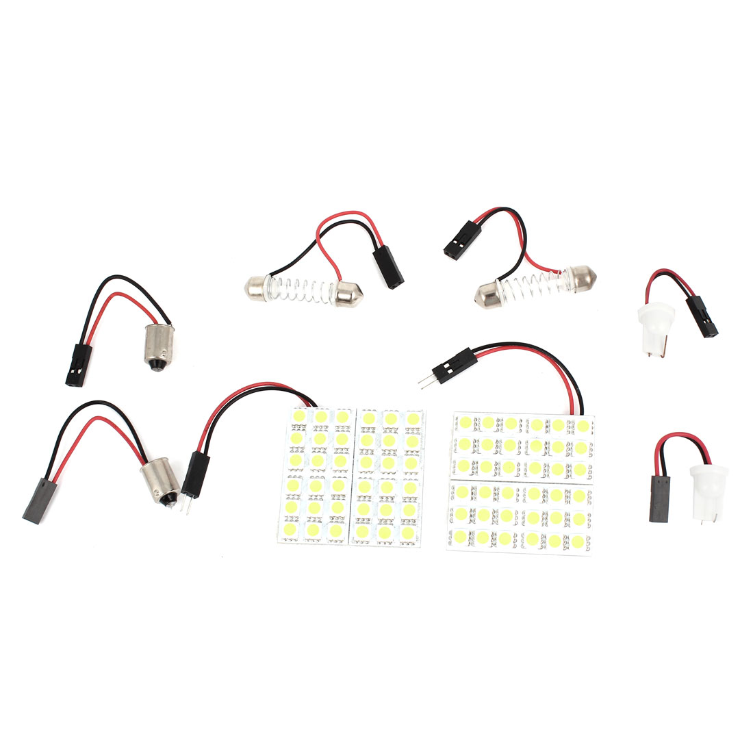 2pcs White 36 5050 SMD LED Panel Dome Door Light + T10 Festoon Adapter Interior for Auto