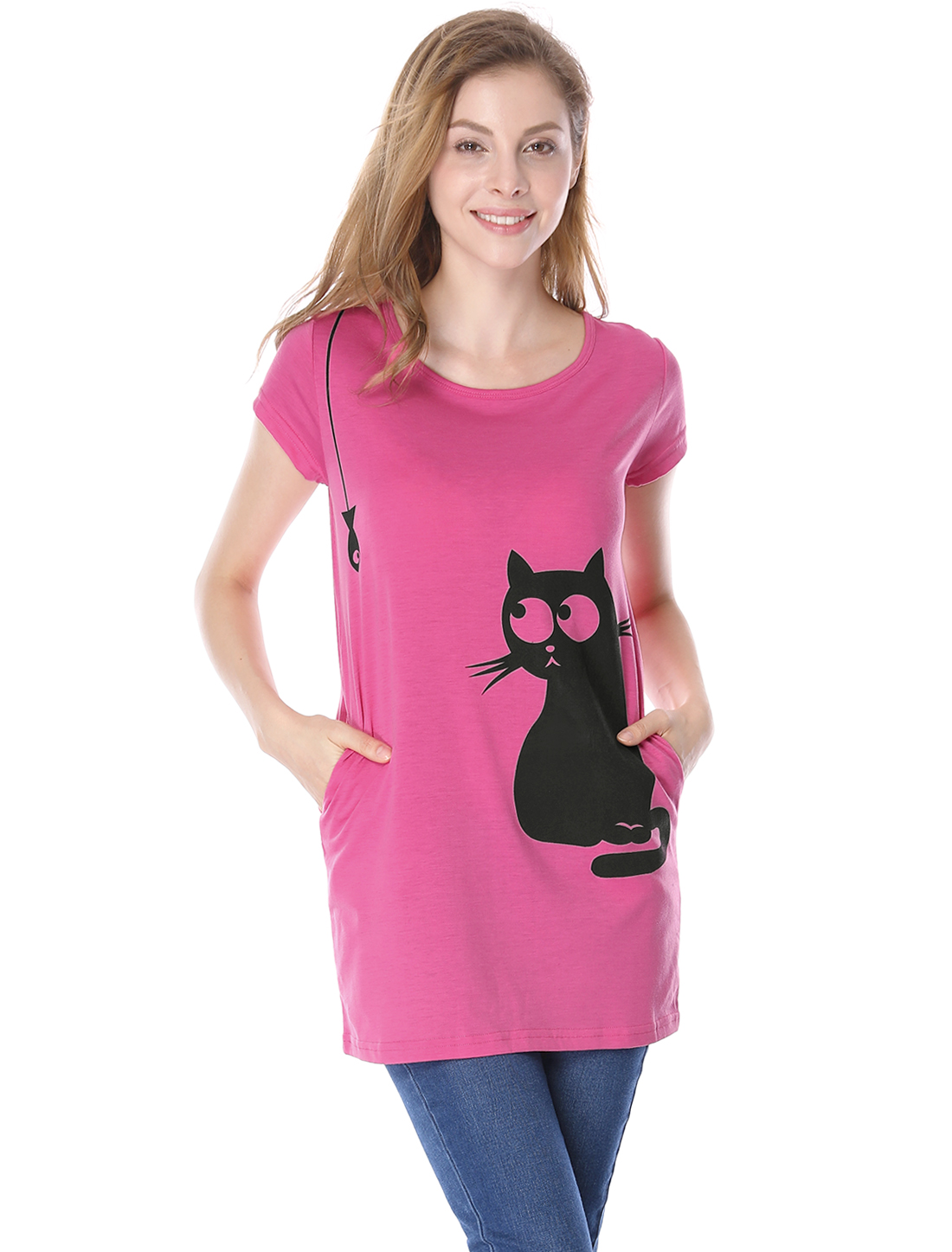 Women Chic Double Side Pockets Cartoon Cat Fish Print Loose Blouse Fuchsia XL