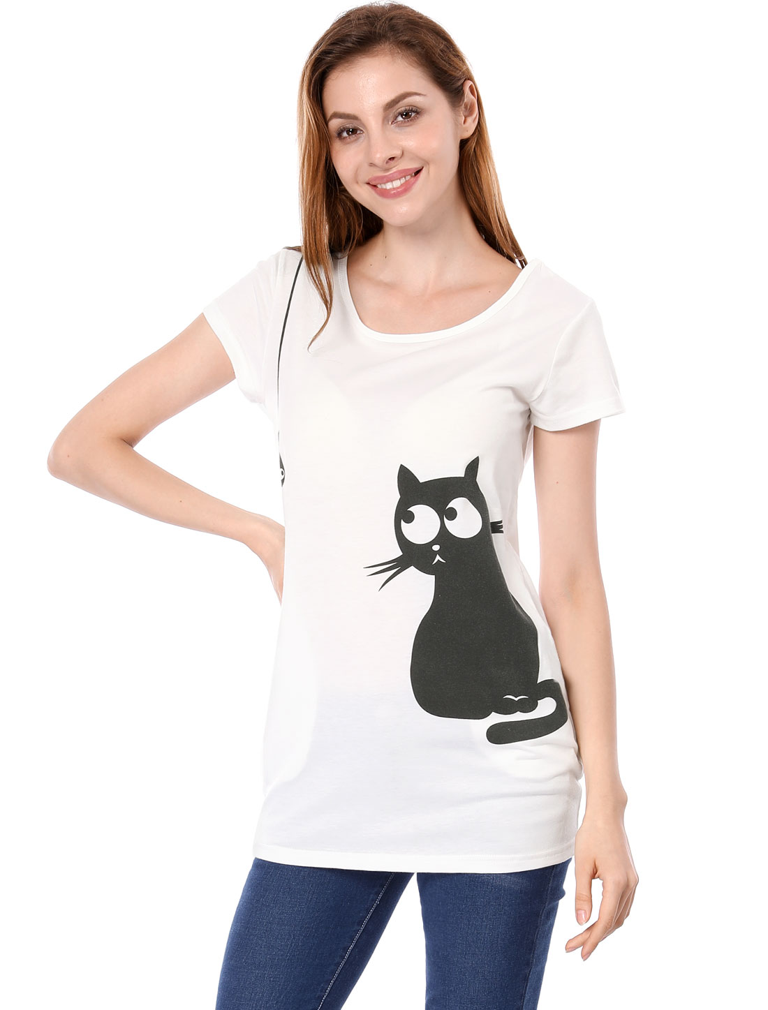 Women Leisure Side Pockets Cartoon Cat Fish Print Loose Blouse White L