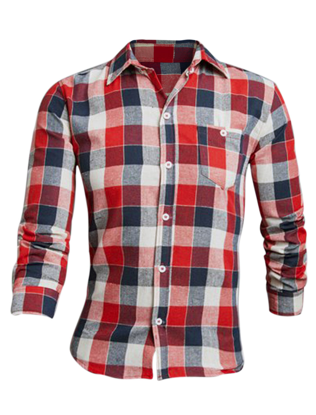 Men Red Navy Blue Long Sleeves Plaid Pattern Chest Pocket Button Down Shirt M