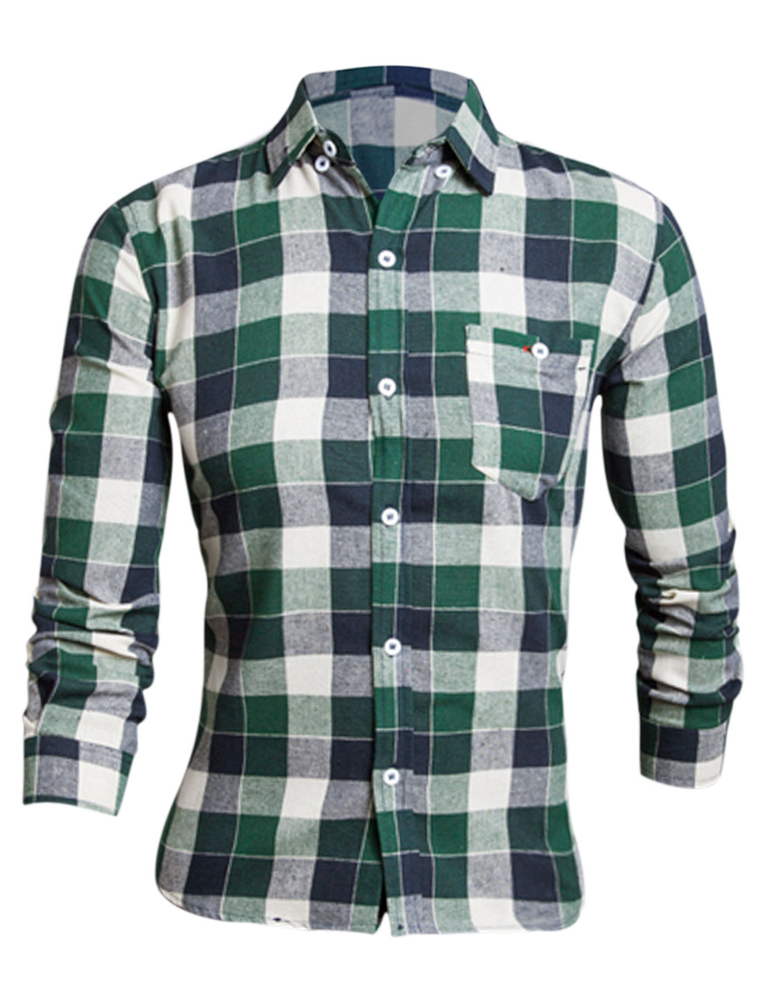 Men Dark Green Navy Blue Printed Plaids Bust Pocket Button Closure Shirt M