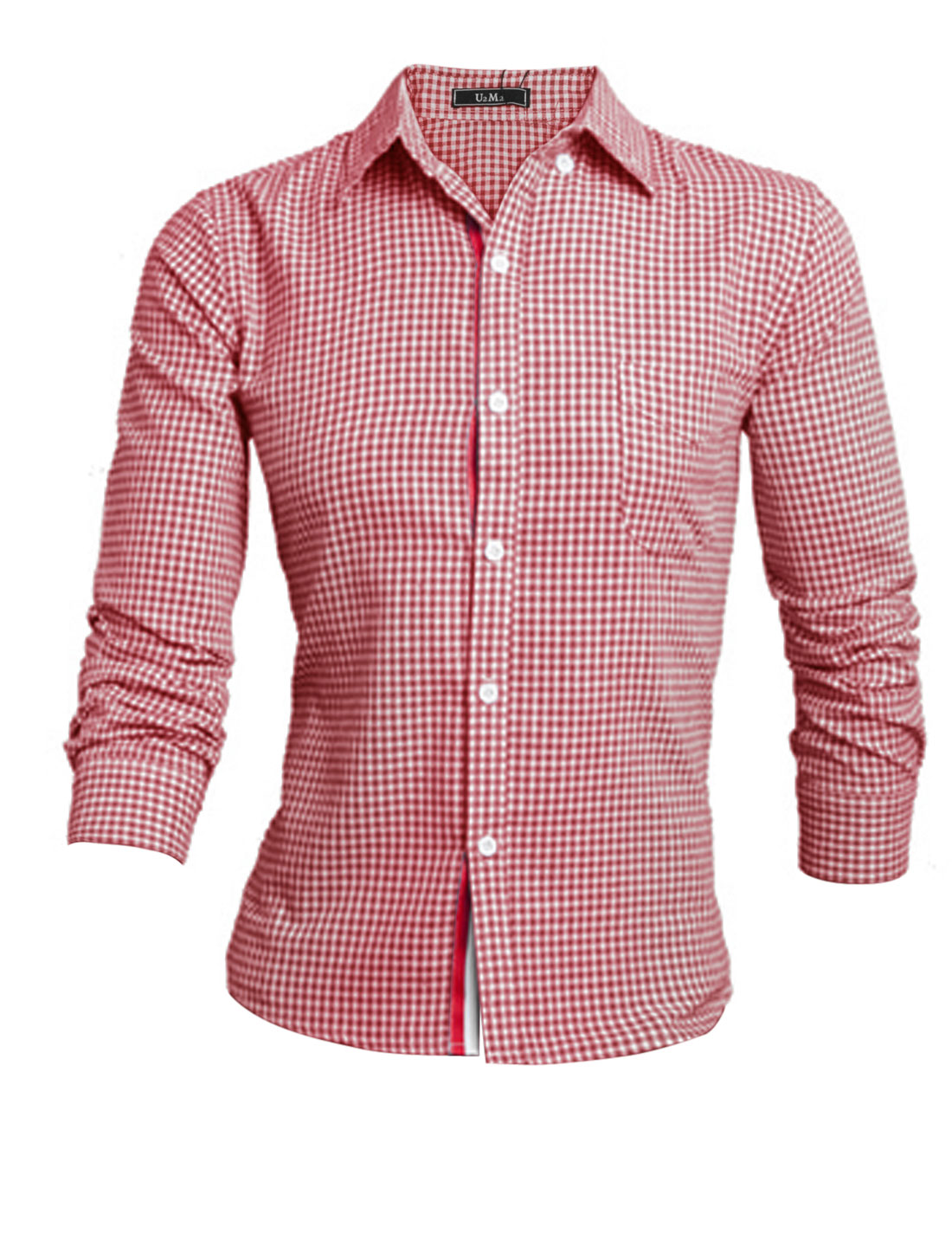 Men Red White Long Sleeves Point Collar Single Breasted Stripes Detail Shirt M