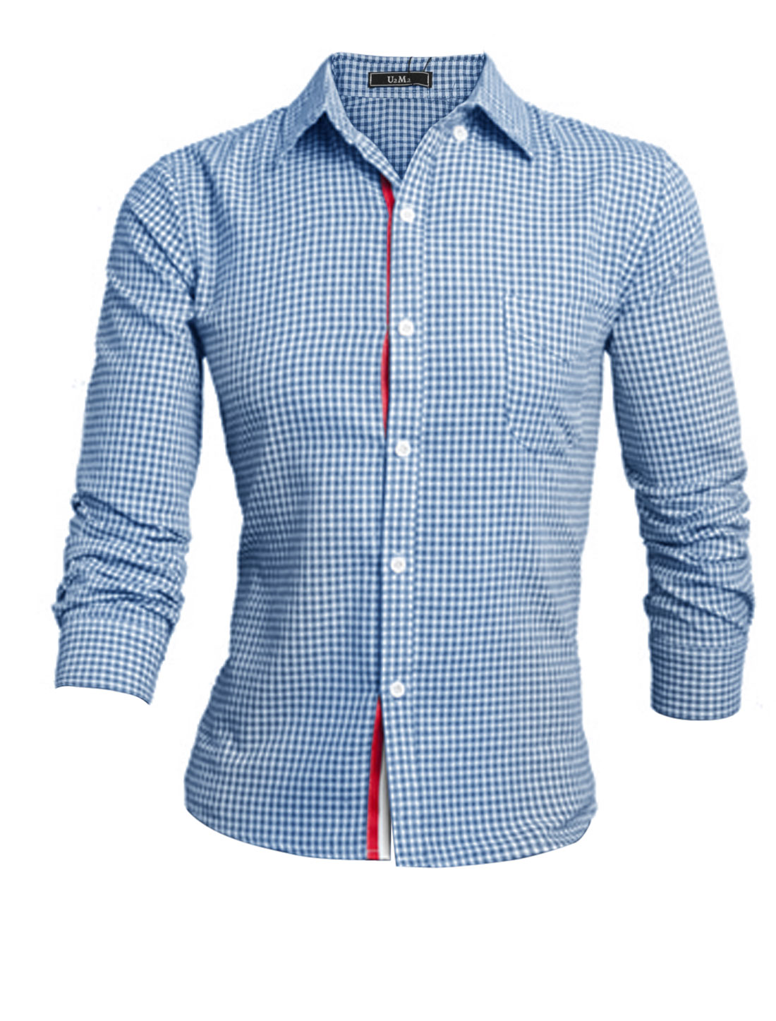 Men Blue White Long Sleeves Point Collar Single Breasted One Bust Pocket Shirt M