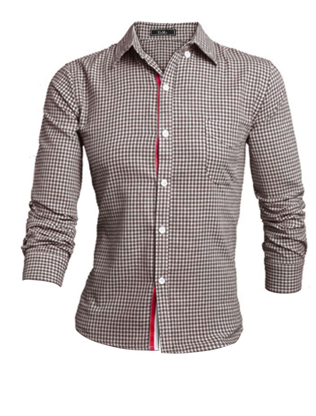 Men Brown White Long Sleeves Point Collar Button Closure Plaids Leisure Shirt M