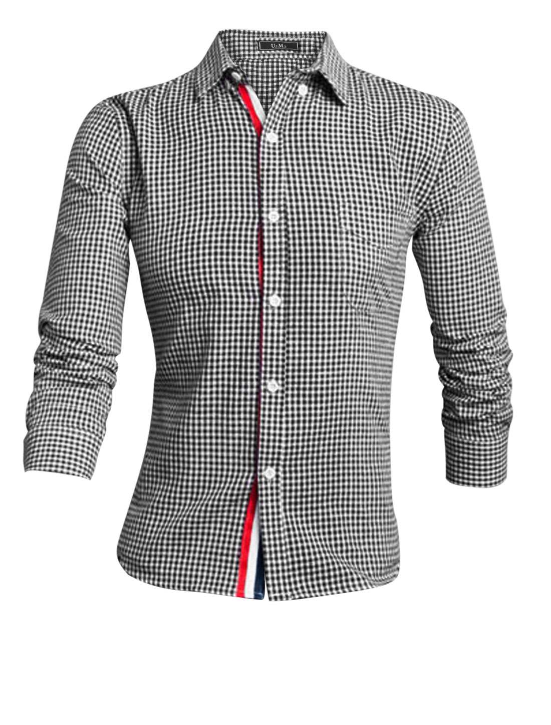 Men Black White Long Sleeves Point Collar Button Down Plaids Fasion Shirt M