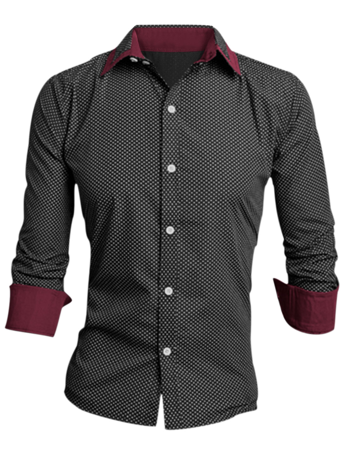 Men Point Collar Long Sleeve Dots Prints Casual Shirt Black M