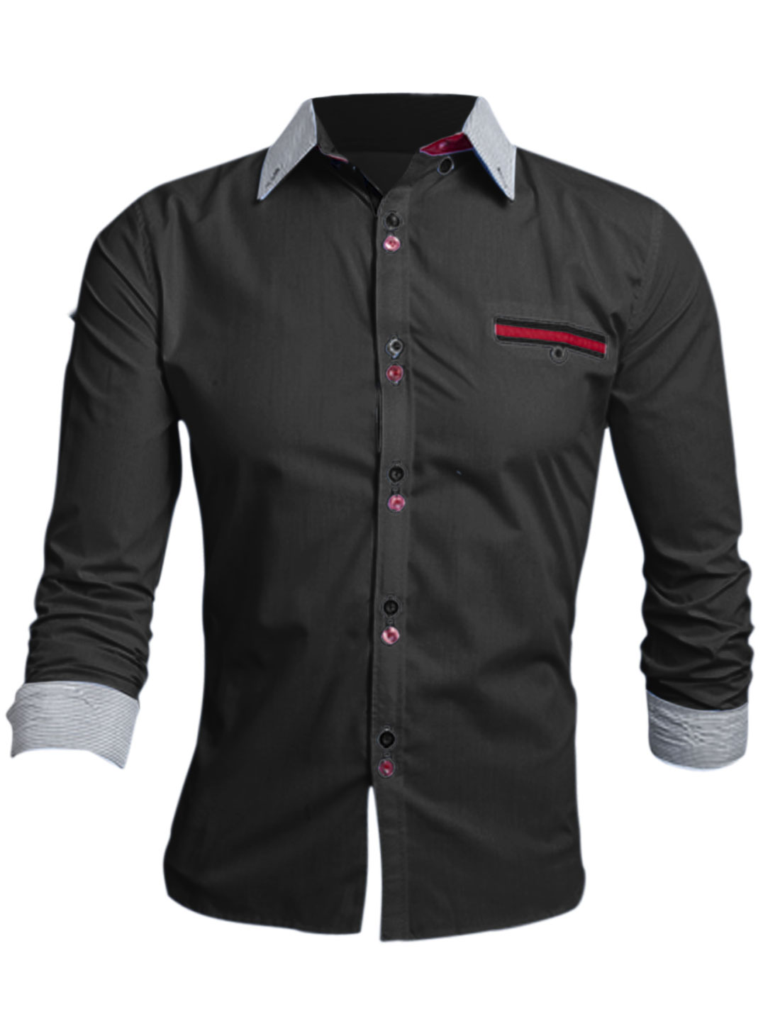 Men Black Single Breasted Point Collar One Mock Pocket Casual Shirt M