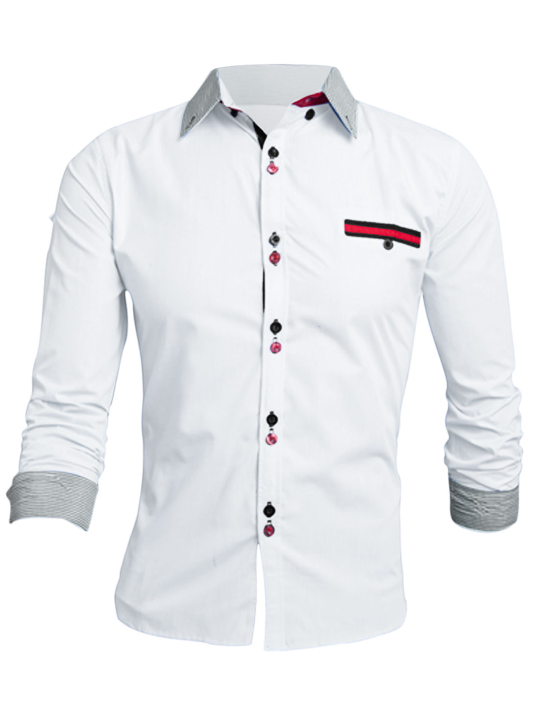 Men White Single Breasted Long Sleeves One Mock Pocket Leisure Shirt M